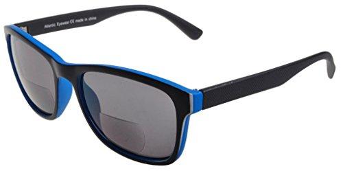 Atlantic Eyewear Schwarz und Blau Bifokal Lesebrille Sonnenbrille Damen und Herren inkl. etui (+1.50)