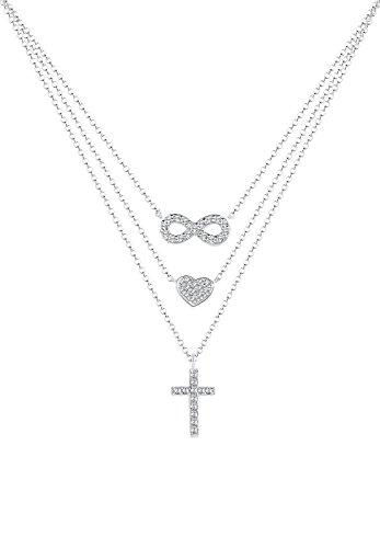 Elli Damen-Halskette mit Anhänger Infinity Herz Kreuz silber 925 Swarovski Kristall - 40cm Länge