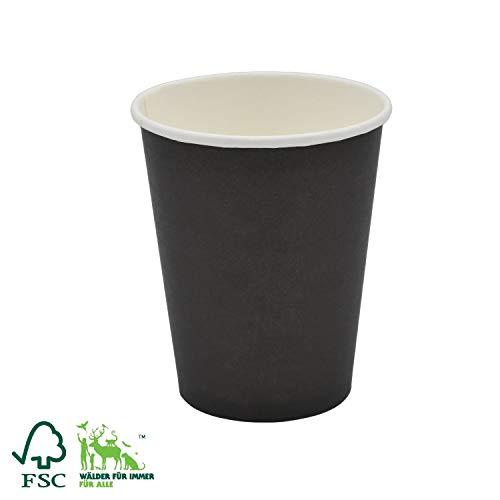 Bio Einweg Becher für Kalt- und Heißgetränke, Kaffeebecher to Go Black 250 ml (9 OZ) 50 Stück