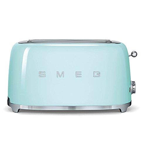 Smeg TSF02PGUK KLF01PGUK | 50s Retro Style 4 Slice Toaster & Kettle Set in Pastel Green