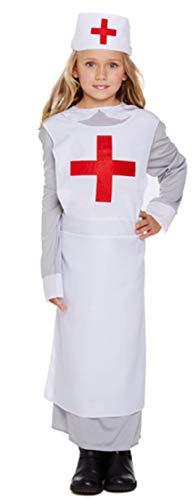 Kostüm Florence Kinder Nightingale - Fancy Me Mädchen Ww1 Vintage War Nurse Florence Nightingale Kostüm Kleid Outfit 4-12 Jahre - Weiß, 7-9 Years