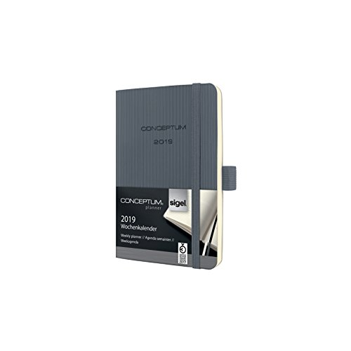 SIGEL C1937 Wochenkalender 2019, ca. A6, dunkelgrau, Softcover Conceptum - weitere Modelle (Perforiertes Papier Für Lesezeichen)