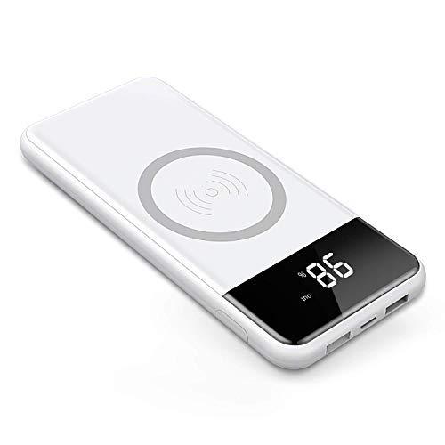 Wireless Power Bank,2 in 1 Kabellos Qi-Ladegerät und 10000mAh Powerbank für Samsung Galaxy Note 8/S8/S8 Plus/iPhone 8/8 Plus/X und alle Qi-fähigen Geräte Andere Micro-USB-Geräte (Weiß)