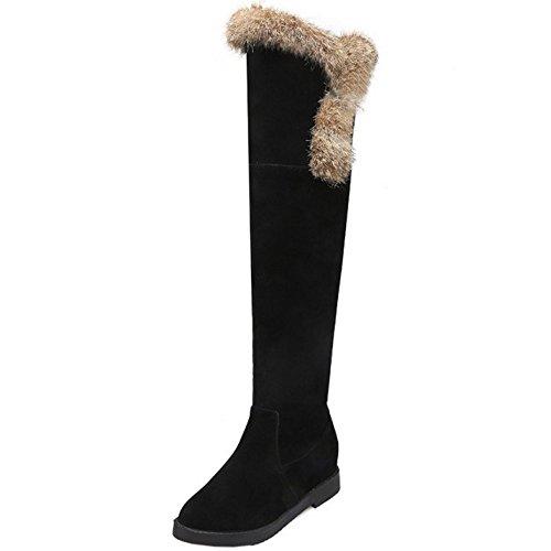 TAOFFEN Damen Winter Warm Flache Snow Boots Lange Stiefel Schwarz