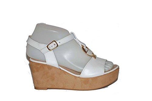 Sandalo con Zeppa Ricoperta Sughero RIPA Bianco