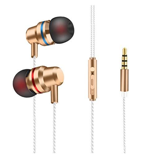 Dorical In Ear Kopfhörer, Headset Sport Ohrhörer Schweißresistent Stereo Eingebautes Mikrofon für iPhone, Huawei und Samsung Ohrhörer Headset Promo (One Size, Z08-Gold)