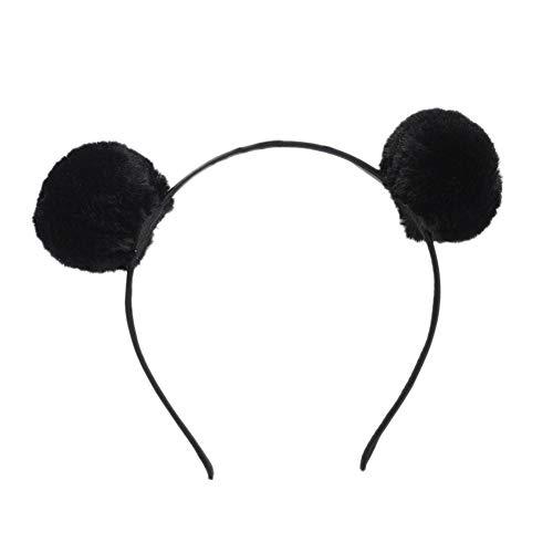WonCacrostrans Niedlicher Kopfbügel für Damen mit zwei Plüsch-Pompons, Haarreif, für Party, als Fotorequisite, Haarband -