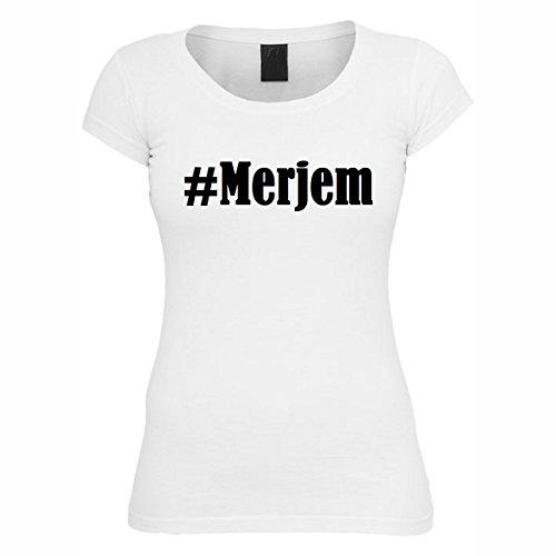 T-Shirt #Merjem Hashtag Raute für Damen Herren und Kinder ... in den Farben Schwarz und Weiss Weiß