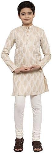 NEUDIS by Dhrohar Silk Blend Long Kurta & Churidar Pajama Set For Boys - B