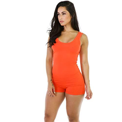 Sommer ärmellose Strampler Frauen Overalls Bodys Rundhals Bodycon One Piece Yoga Anzug Orange L - Calvin Falten Anzug