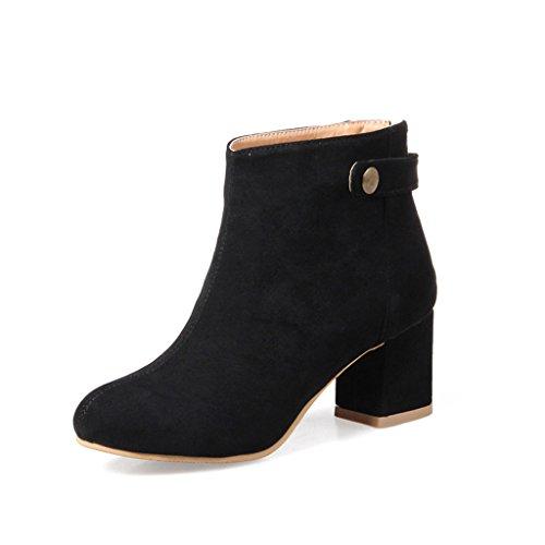 Autunno e inverno tomaie glassate tubo corto stivaletto tacco medio stivali da donna tacco spesso stivali singoli scarpe da studente (colore : nero, dimensioni : eu38/uk5.5/cn38)