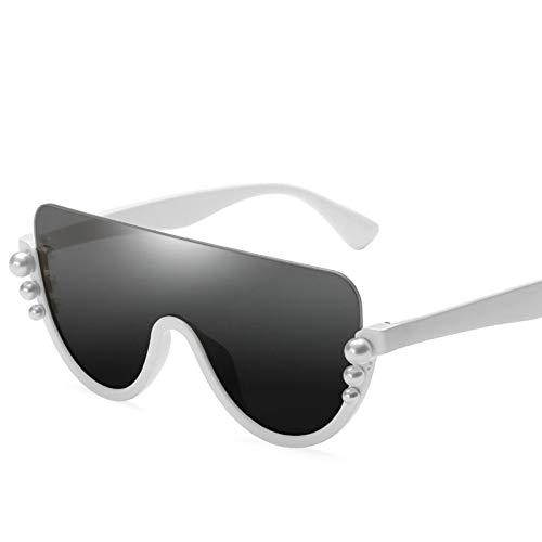 LLISA Pearl Kragen Sonnenbrille Frauen Cat Eye Sonnenbrille Retro Semi-Rimless Shaped Brille Damen Reisen Freizeit Sonnenbrille Uv400,2
