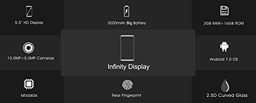 Oukitel C8 Relaci  n de pantalla completa 18  9 Android 7 0 OS 5 5 pulgada HD Display 3000mAh bater  a grande 2 GB RAM 16 GB ROM 5 0MP 13 0MP c  mara