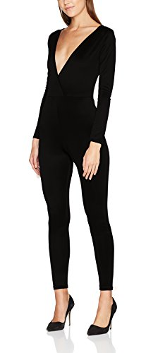 FM London Damen Slim Jumpsuit Floral Maxi, Schwarz (Black), (Jumpsuit Schwarzer)