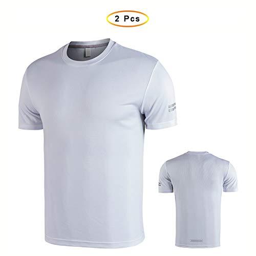 YWYF Schnelltrocknendes T-Shirt, Atmungsaktives Sportoberteil Für Das Training Laufen Fußball Basketball Trikot, Lose Serie (2 Stück) (Size : S)