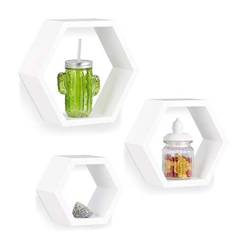 Relaxdays 10021897_49 Étagère Flottante Suspendue Lot de 3 Cubes Support Mural Meuble Rangement Bois, Blanc, MDF, Weiß, 10 x 29,5 x 26 cm