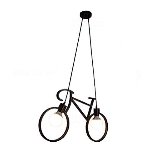 Ruxmy lampadario in ferro battuto, moderno minimalista 2 luci metallo nero e27 lampada da soffitto bicicletta per camera dei bambini sala da pranzo camera da letto cafe luci a sospensione