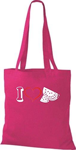 Stoffbeutel Obst I love Wassermelone Melone pink