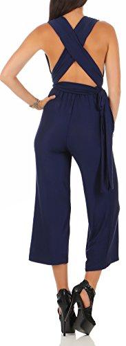 malito Damen Einteiler elegant | Overall mit tiefem Ausschnitt | rückenfreier Jumpsuit | Romper �?Hosenanzug 2552 Dunkelblau