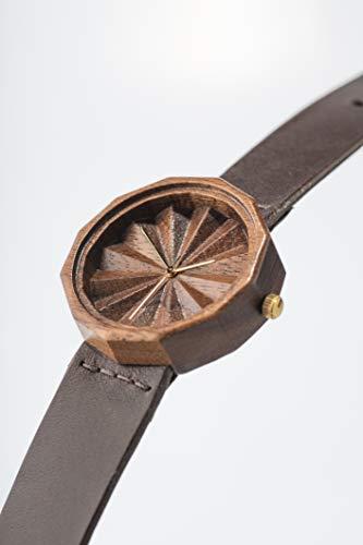 Orologio in legno per donna, Legno di noce nera, Orologio inciso, Orologi Svizzeri, Unico Regalo per lei