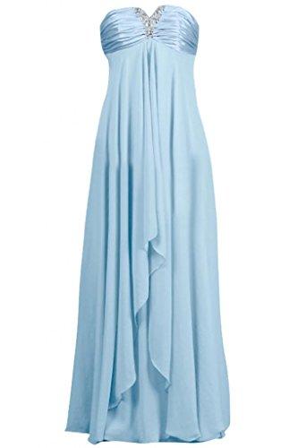 Sunvary in Chiffon, da donna, elegante, abiti da damigella d'onore, senza spalline Champagne