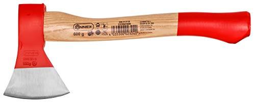 Connex Beil 600 g - Robuster Stiel aus Eschenholz - Kompakte Form - Kopf 2-fach verkeilt - Zur präzisen Bearbeitung von Holz / Handbeil mit Schneidschutz / Spaltbeil / Camping-Beil / COX841600