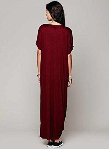 Azbro Women's Short Sleeve Side High Slit Maxi Loose Solid Dress Deep Blue