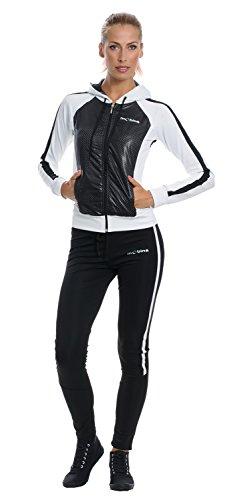 Mobina Damen Sportanzug mit Kapuze - schwarz / weiss M