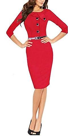 SunIfSnow - Robe spécial grossesse - Moulante - Uni - Manches 3/4 - Femme - rouge - Large