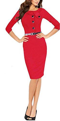 SunIfSnow -  Abito  - fasciante - Basic - Maniche a 3/4 - Donna Red Large
