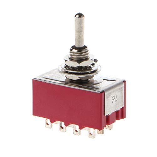 YoungerY Wechselstrom 250 V / 2A 125 V / 5 A, 12-polig, EIN/EIN, 2 Positionen, 4PDT-Mini-Kippschalter, Rot -