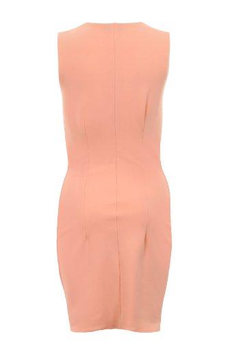 Saphir Damen Eckiger Ausschnitt Schmal Effekt Bodycon Damen Bleistiftrock Kleid 8 10 12 14 Pfirsich