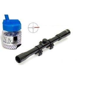 Nerd Clear Ziel-Fernrohr Visier Sniper Zubehör Ausrüstung für Softair-Gewehr und Kleinkaliber-Gewehr Prismenschiene Sniper Scharfschütze 4 x20 1000 Kugeln 6mm BB Munition