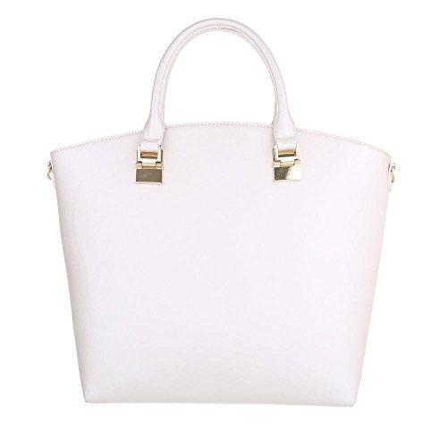 iTal-dEsiGn Damentasche Mittelgroße Schultertasche Handtasche Kunstleder TA-A201 Weiß