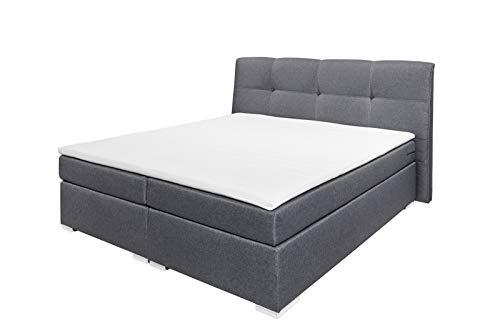 lifestyle4living Boxspringbett 180x200, anthrazit, Stoff | Entspannter schlafen auf dem modernen Doppelbett komplett mit Kopfteil und Topper