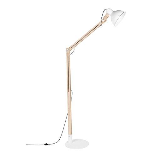 Viugreum Lámpara de Pie Base Metal para Salón/Habitación,Bajo Consumo Blanco/Negro (Blanco)