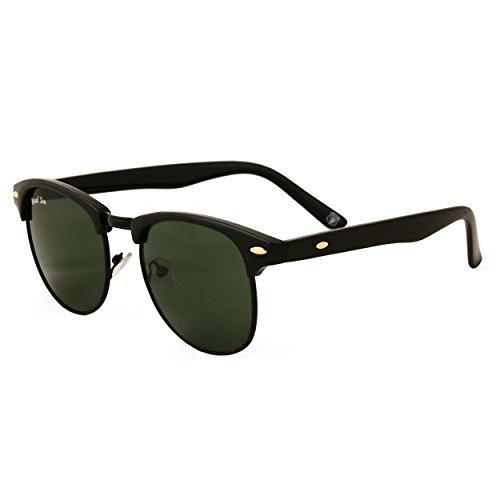 Royal Son UV Protected Clubmaster Round Sunglasses For Men And Women (RS009CM | 51 | Green Lens)