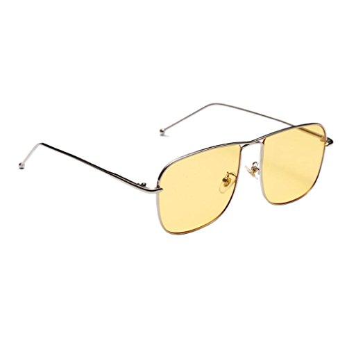 MagiDeal Retro Square Rechteckige Sonnenbrille Metall Gestell Polarisierte Gläser für Herren Damen - Gelb