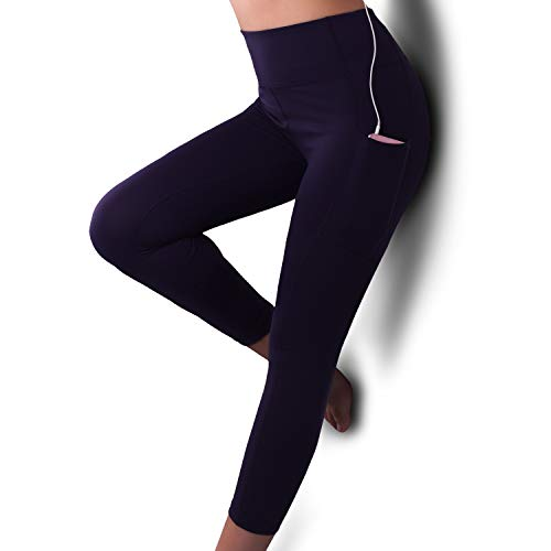 GRAT.UNIC Damen Hohe Taille Sport Leggings,Damen 3/4 Sport Leggings,Yoga Sporthose mit Seitentaschen, Damen Leggings,Classics Schwarz Stretch Workout Fitness Jogginghose,Zwei Seitentaschen (Blau, L)
