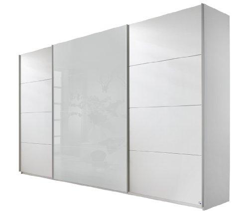Rauch Schwebetürenschrank 3-türig Weiß Alpin, Absetzung Weiß-Glas, BxHxT 315x210x62 cm
