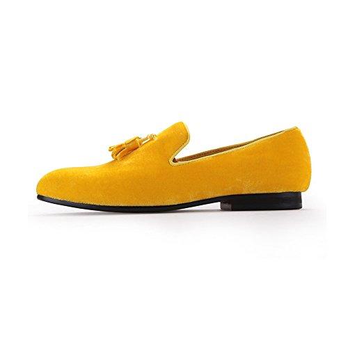 Homme Mocassins De Mode Velours à Enfiler Frange Chaussures Jaune
