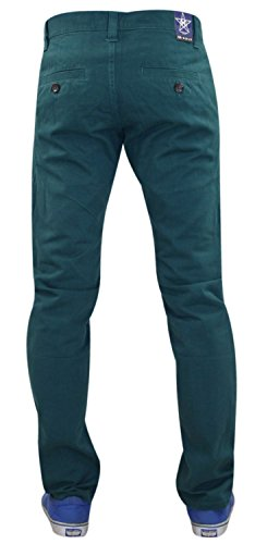 Nouveau Hommes Kushiro Ville chino 100% coton Slim Fit Casual Jeans Deep Teal