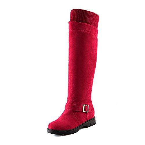 Voguezone009 Rot spitze Ziehen Auf Stiefel Rein Absatz Hoch Damen Mittler rqzr4