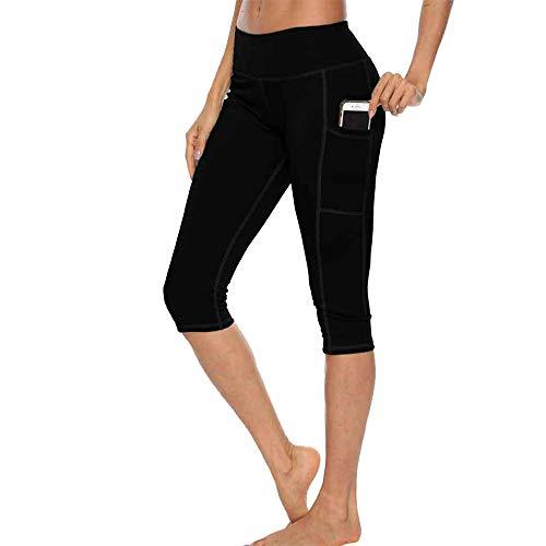 Shujin Damen Sport Capri Leggings mit Taschen Blickdichte Sporthose Tights mit Doppel Handytasche für Yoga Fitness Gym Capri Running Legging
