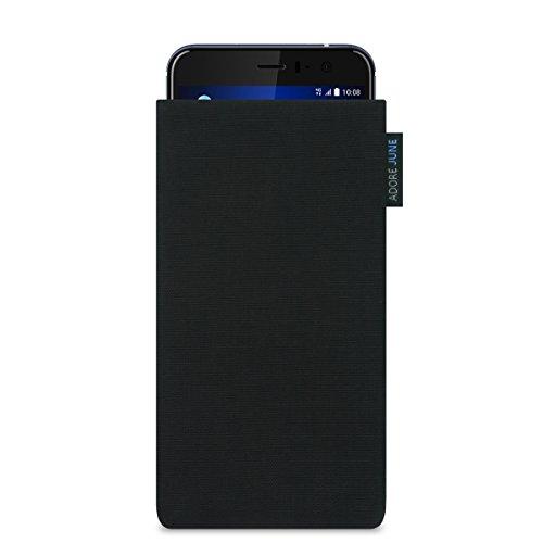 HTC U 11 Hülle, Adore June Tasche [Serie Classic] aus original Cordura in schwarz. Elegante Handytasche aus widerstandsfähigem Textil-Stoff [Display-Reinigungseffekt] HTC U11 case sleeve