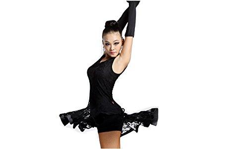 Motony Latin Dance Kleid ärmellos Dance Praxis Kostüm für Erwachsene Performance Kleidung Square Dance Tragen Gr. L, Schwarz (Latin Dance Kostüm Kleider)