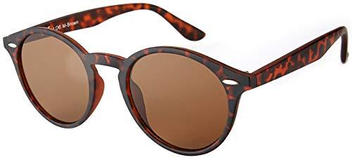 La Optica UV 400 Damen Herren Retro Runde Sonnenbrille Round - Einzelpack Matt Braun Horn (Gläser: Braun verspiegelt)