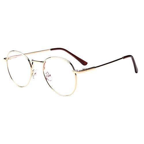 Forepin® Montura para Gafas Hombre y Mujeres Vintage Unisexo Retro del Metal Vidrios Claros de la Manera Gafas Transparent - Oro