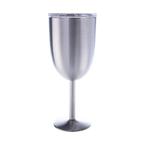 SODIAL Copas de vino de acero inoxidable, 300ml Copa de coctel de acero inoxidable 304 vacio Copa caliz de vino perfecto para diario, camping y picnic (Plata)