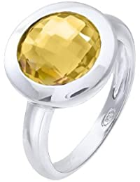 Citerna Rhodium Plated Silver Classic Round Citrine Stone Ring